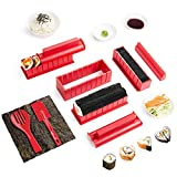 Virklyee Sushi Maker Kit 10 Stück DIY Sushi Set 5 Formen Sushi Maker Set Für Anfänger Easy Sushi Maker Einfach und Spaß Auch Als Geschenk (Rot)