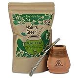 Starterset Delicatino Premium Mate Tee Natural Green 200g + Mate Keramik Delicatino + Bombilla Hexagonal 17cm