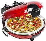 Bestron Elektrischer Pizzaofen mit Steinplatte, Viva Italia, Ober-/Unterhitze, 1000 Watt, Rot