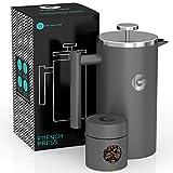 Coffee Gator French Press Kaffeemaschine – Heißer-für-länger Thermobrüher mit weniger Ablagerungen – Plus Behälter – Großes Fassungsvermögen, doppelwandig isoliert – Edelstahl – 1 Liter – Grau