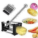 Pommes Frites Schneider, Laxus Edelstahl Pommesschneider Kartoffelschneider Gemüseschneider und Obststiftler mit 2 Klingen Für dünne oder größere Fritten