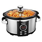 Aicok Slow Cooker | Schongarer | Premium Multikocher | Dampfgarer | 6,5 Liter | Digitaler Countdown-Timer Keramiktopf | Maximale Nährstoffe | Crock Pot | Gehärteter Glasdeckel | Edelstahl, Silber